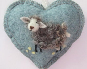 Baaa, needle felted grey lamb Easter tree hanging decorations, woolly sheep heart ornament for Spring, personalised and with notlet pocket,