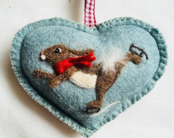 Skating rabbit Heart , needle felted skating bunny on a heart , rabbit ornament personalised and with notlet pocket, small gift or card