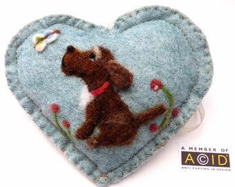 Your own pet dog portrait on a heart ornament, Cat / dog / pony personalised and with notlet pocket,