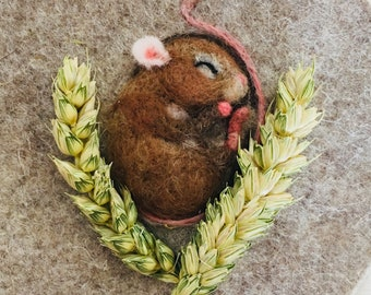 Sleeping mouse - needle felt sculpture framed picture wool harvest mouse