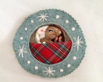 Sleeping Christmas mouse - needle felt sculpture with hanging ribbon, scented with lavender or rose petals - personalised