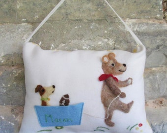 Teddy Tooth Fairy pillow, boy's or girl's personalized tooth fairy with needle felted teddy design.