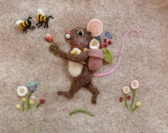 Needle felted mouse pillow, kid's room flowers and bees - can be personalized girls and boys bedroom pillow.