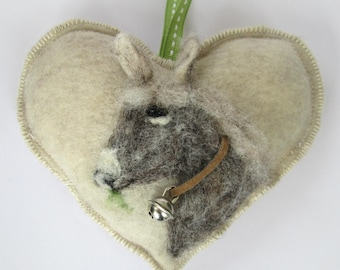 Heart hanging decoration, needle felted donkey on a heart ornament, personalised and with notlet pocket, mini tooth pillow