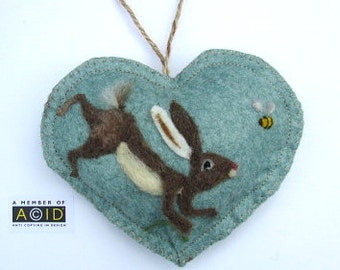 Felted Hare chasing a bee, Personalised Heart hanging decoration, needle felted Hare on scented heart, personalised with name / words