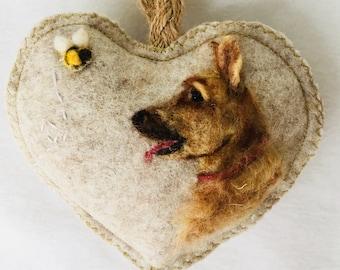 PET dog portrait on a heart ornament, head and shoulders portrait of your own pet cat / dog