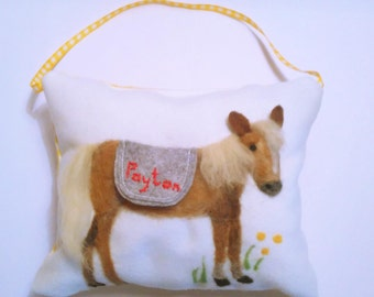 Horse personalized tooth fairy pillow. Cute tooth fairy pony cushion with name, tooth pouch for girls and boys, tooth fairy