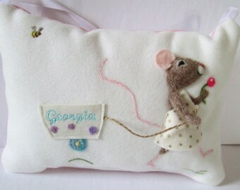 Girls Tooth fairy pillow , personalized tooth fairy pillow. Needle felted mouse. Personalized with child's name pillow. Tooth cushion