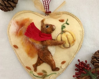 Squirrel wool sculpture habging heart - Fall Winter house and home decor