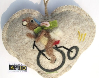 Needle felted rabbit Heart on a bicycle ! Father's day gift, bike, Felted hare - Birthday card - tooth fairy pillow, personalised with name