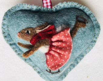 Skating girl rabbit in polks in tutu needle felted  scented heart decoration