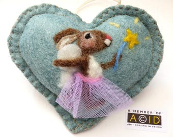 Felted fairy Godmother mouse heart gift, Personalised felt Heart hanging decoration, needle felted mouse - scented heart