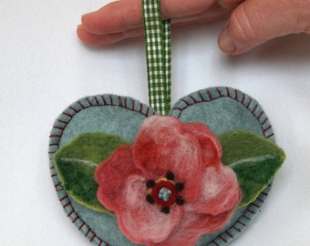 Red rose brooch needle felted flower mounted as heart shaped hanging ornament,custom hanging decoration, personalised with notlet pocket,