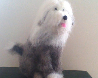 Needle felted Old English Sheepdog sculpture, wool dog ornament, pet portrait, dog memory