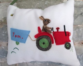 Tractor and rabbit design tooth fairy pillow, personalized girls and boys tooth pillow. Felted rabbit.Tooth pouch with name.Christening gift
