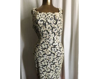 4ef5aa9d69049 1950s Sequin Black and Cream Cocktail Dress // wiggle dress // pin up dress