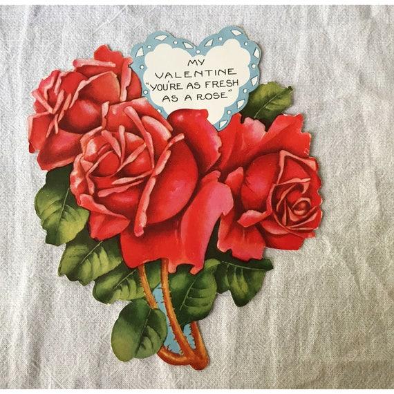 Vintage Valentine\u0027s Day Card // Roses