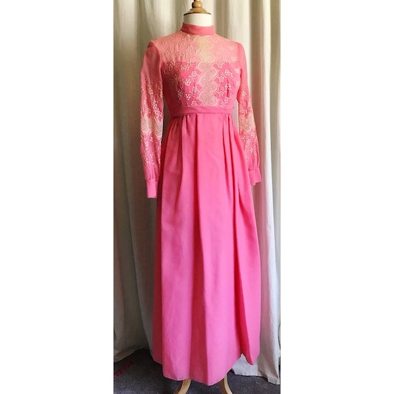 1960s Pink Embroidered Dress // maxi dress // flo… - image 7