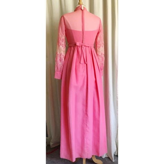 1960s Pink Embroidered Dress // maxi dress // flo… - image 5