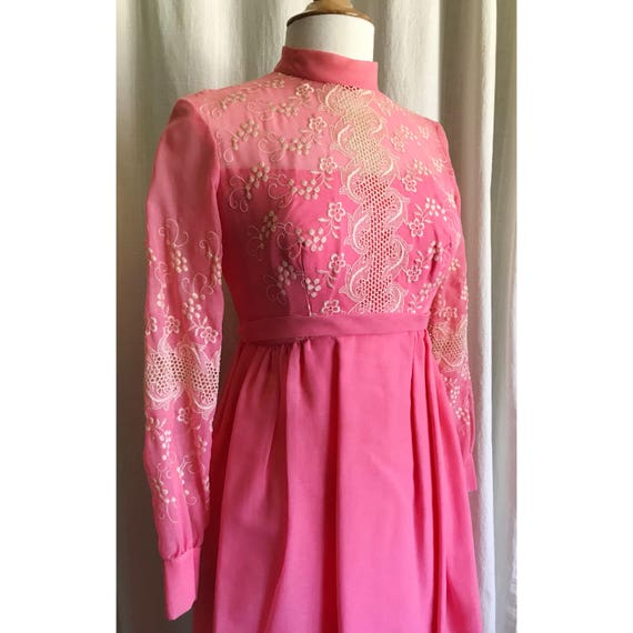1960s Pink Embroidered Dress // maxi dress // flo… - image 8