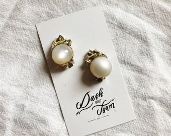 Coro Moonstone and Rhinestone Earrings // Clip On