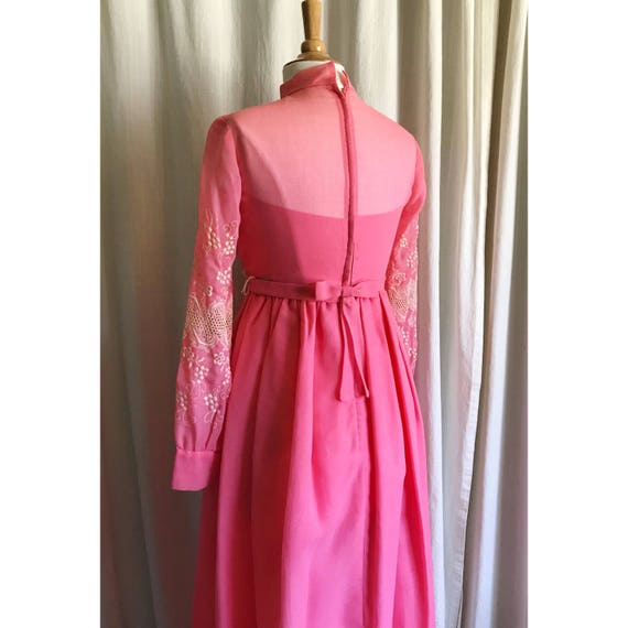 1960s Pink Embroidered Dress // maxi dress // flo… - image 9