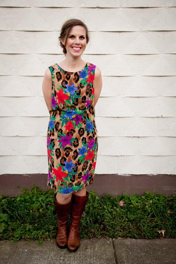 Vintage 1980s Dress // Floral & Leopard // Sheath