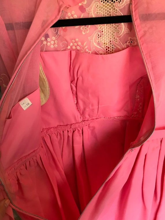1960s Pink Embroidered Dress // maxi dress // flo… - image 3