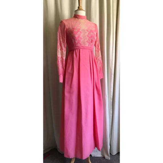 1960s Pink Embroidered Dress // maxi dress // floo