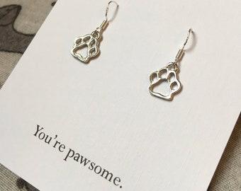 2392a4631 Paw print earrings, dog earrings, dog paw earrings, dog paw prints, dog  lover gift, gift for dog owner, dog gift, birthday gift