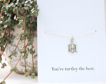 Silver turtle necklace, gift for her, tortoise necklace, birthday gift for friend, gift for sister, cute necklace, birthday necklace