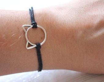 Cat bracelet, cat lover gift, cat jewellery, cat lady, cord bracelet, gift for cat lover, cat charm, adjustable bracelet, gift for friend