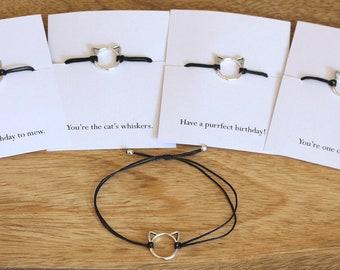 Cat bracelet, adjustable bracelet, cat jewelry, cat lover gift, cat lady, cord bracelet, cat charm, kitten bracelet, gift for cat lover