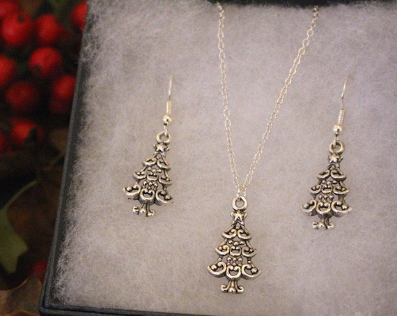 Christmas tree necklace and earrings set, Christmas jewellery set, Christmas tree jewelry set, Christmas tree necklace and earrings