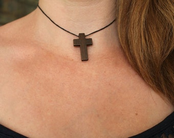 Cross choker, choker necklace, wooden cross necklace, wooden cross choker, gothic jewellery, gift for her, 90s jewellery, 90s choker