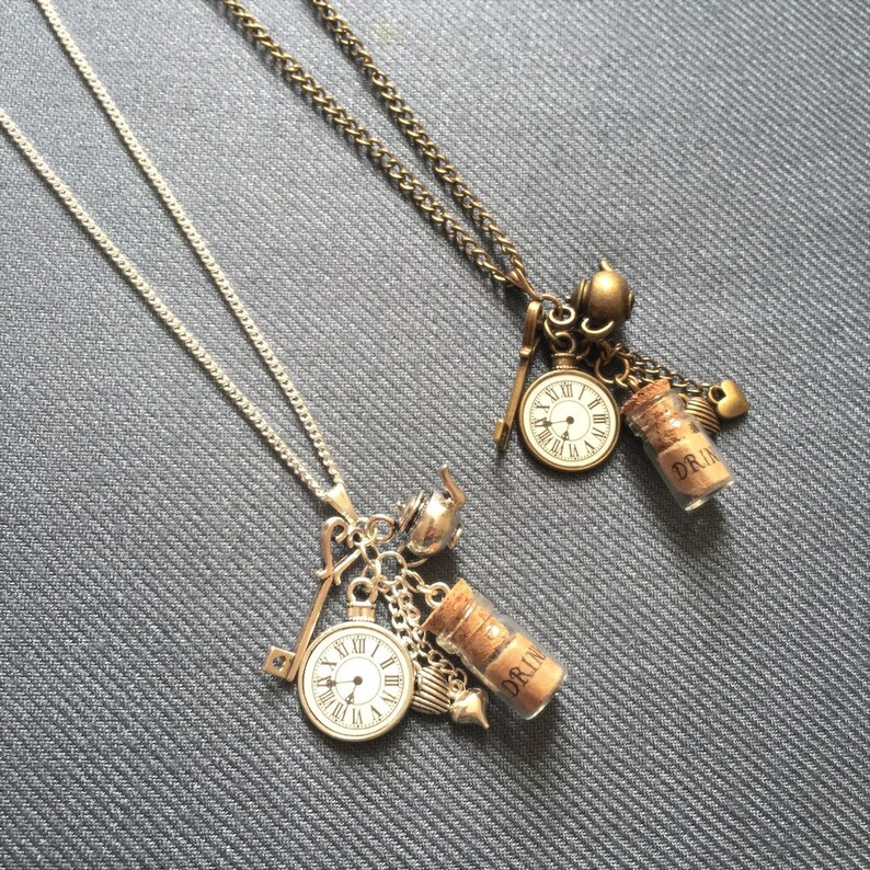 Alice in Wonderland necklace steampunk necklace long image 0