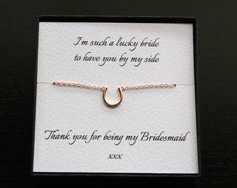 Bridesmaid bracelet, bridesmaid gift, horseshoe bracelet, bridesmaid jewelry, rose gold horseshoe, good luck bracelet, wedding jewellery