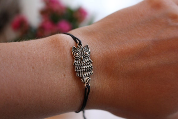 Black String Owl Bracelet