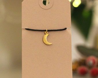 Moon bracelet, gold moon bracelet, small gold moon, small moon charm, gift for friend, string bracelet, charm bracelet, friendship bracelet