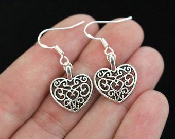 Celtic heart earrings, silver heart earrings, filigree earrings, heart earrings, dangle heart earrings, gift for mum, gift for sister