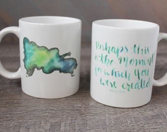 For Such A Time As This Esther 4:14 Christian coffee mug - watercolor brush calligraphy, handlettering scripture