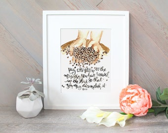 Ministry, Coffee Bean Brush Lettering Scripture Verse inspirational watercolor print - Colossians 4:17