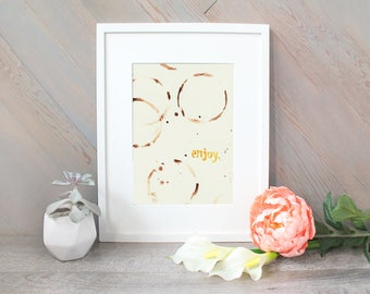Enjoy - Coffee Ring Art watercolor print