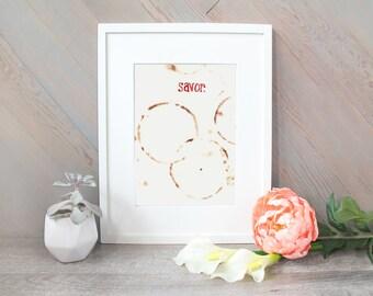 Savor - Coffee Ring Art watercolor print