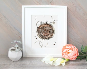 Steadfast, Coffee Cup Brush Lettering Scripture Verse inspirational watercolor print - 1 Corinthians 15:58