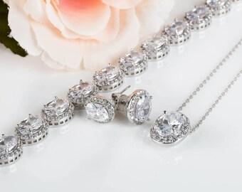 Bridesmaid Jewelry | Bridesmaid Sets | Bridesmaid Gifts | Wedding Jewelry | Bridal Sets | Weddings | Earring Pendant Bracelet Set