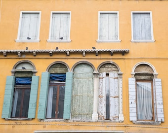 Burano, Italy, Architectural Photos, Antique Windows, Shuttered Windows, Yellow Buildings, Stucco Buildings