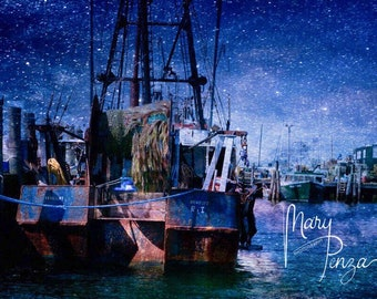 Twilight Night, Boat, Dock, Star Bright