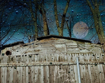 Old Barn and Fence, Moonlit Shack, looking out the window, rainy night