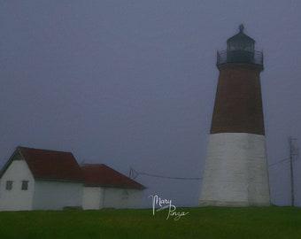 Lighthouse, Point Judith Lighthouse, Foggy Lighthouse, Rhode Island Coastline, Fine Art Photography